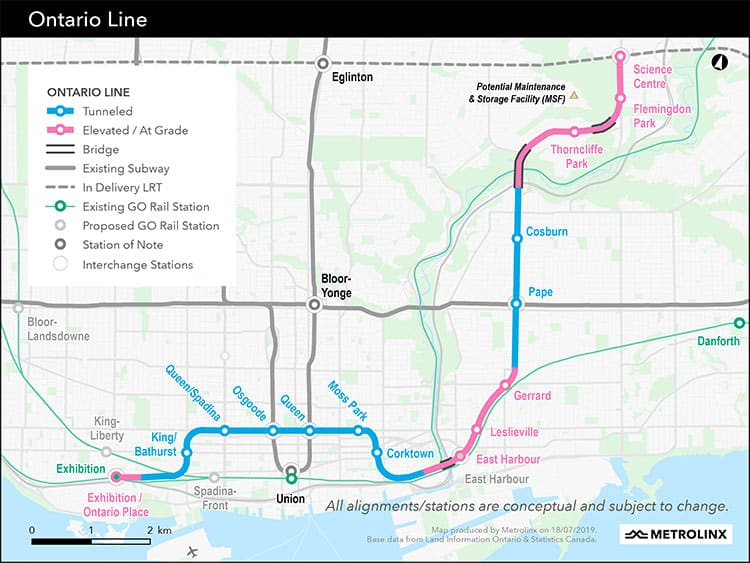 Ontario Line Map