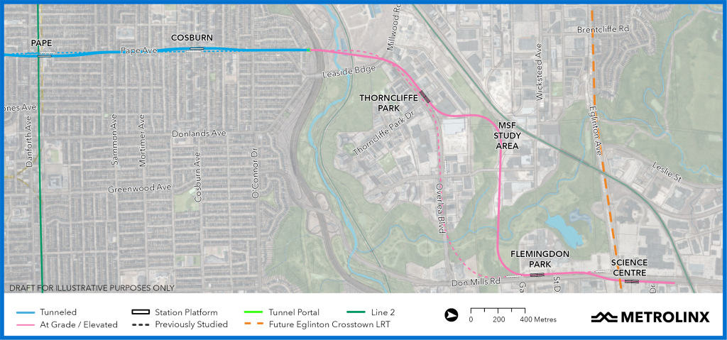 Proposed routing of Ontario Line north segment