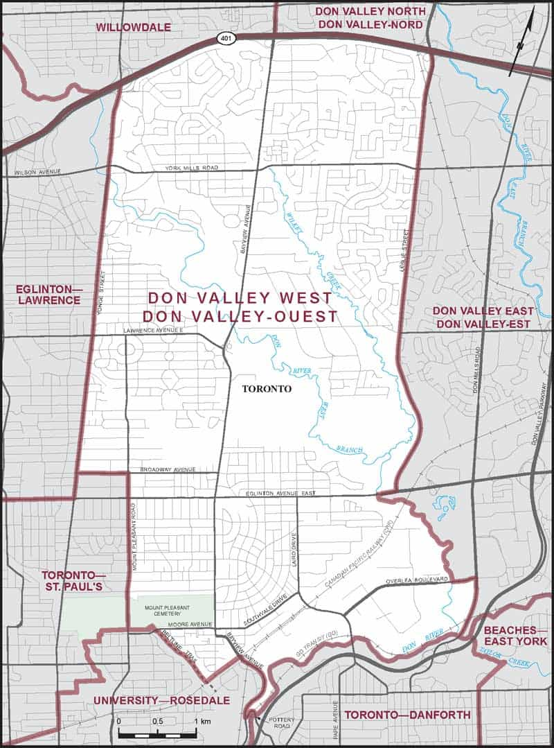 Map of Don Valley West federal electoral district